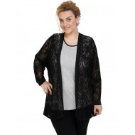 B19-139 Classic cardigan with lace - Black