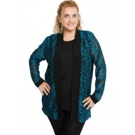 B19-139 Classic cardigan with lace - Petrol
