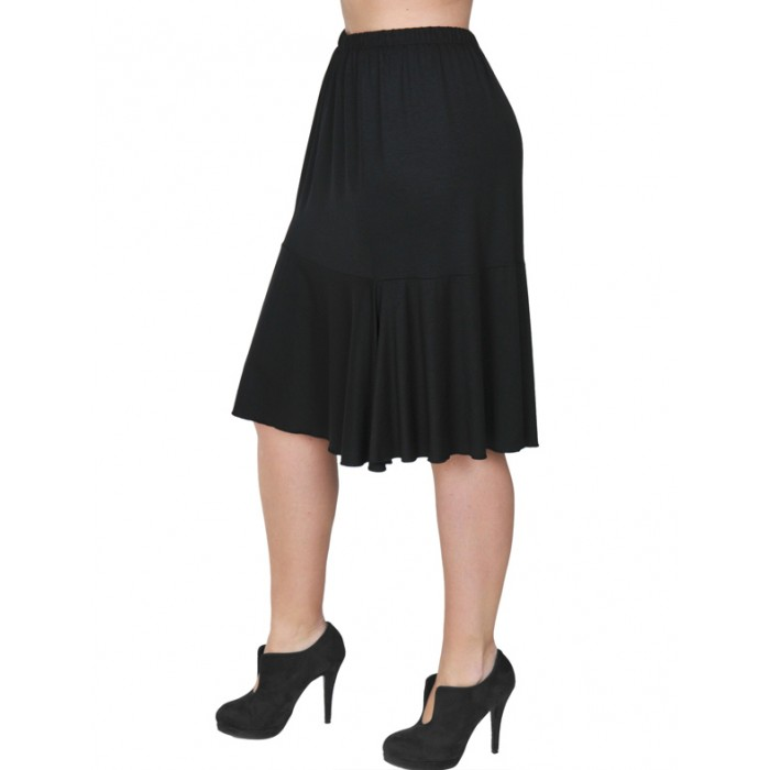 B19-168 Evaze fitted skirt with ruffles - Black