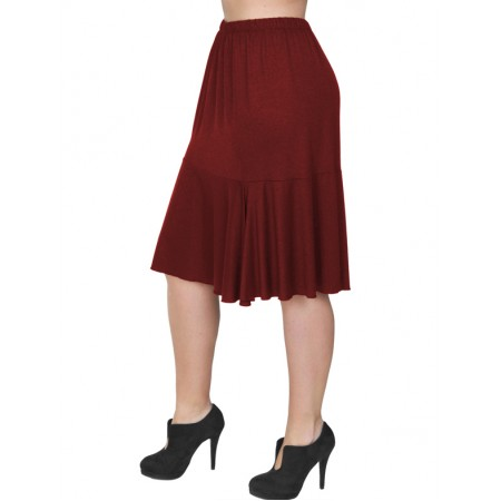 B19-168 Evaze fitted skirt with ruffles - Bordeaux