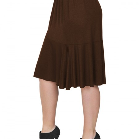 B19-168 Evaze fitted skirt with ruffles - Brown