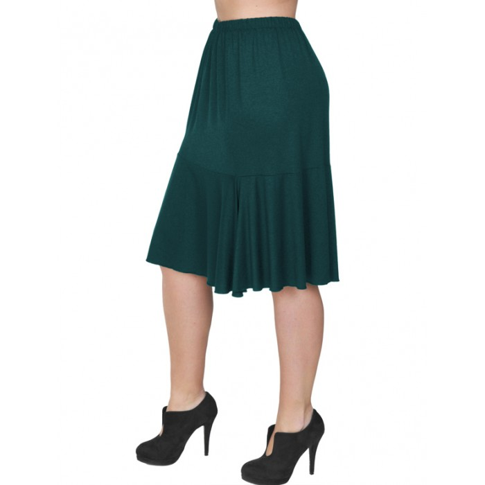 B19-168 Evaze fitted skirt with ruffles - Petrol