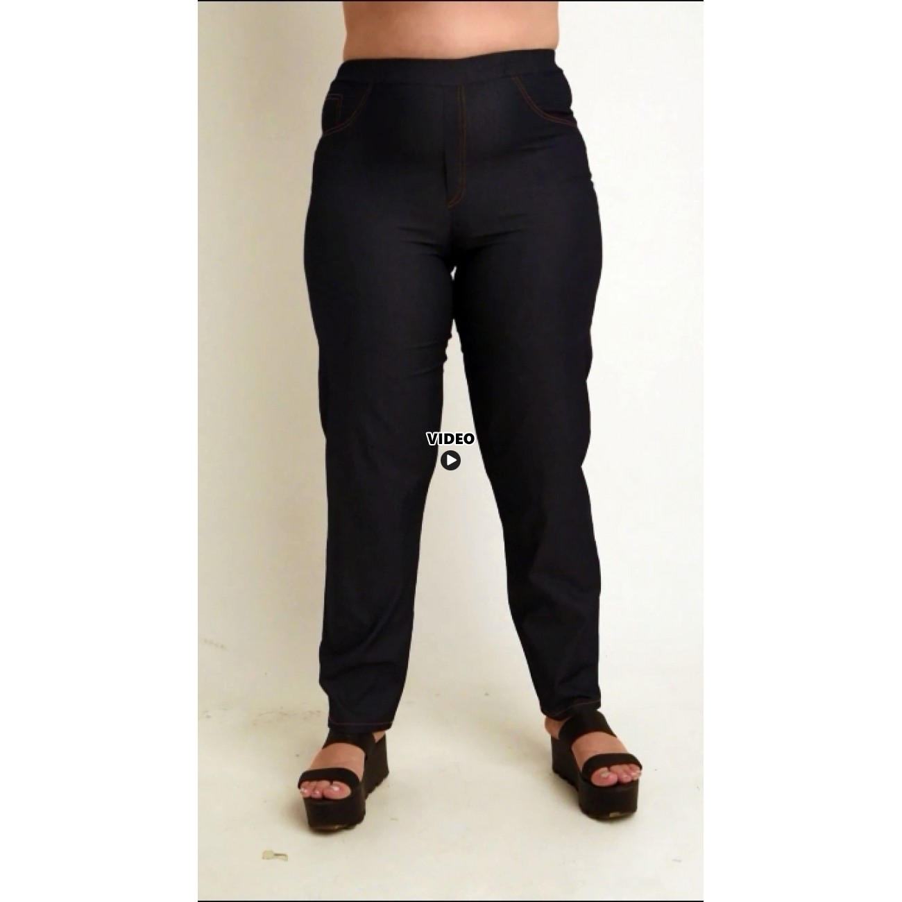 A20-659 Fitted trousers with 5 pockets - Dark blue