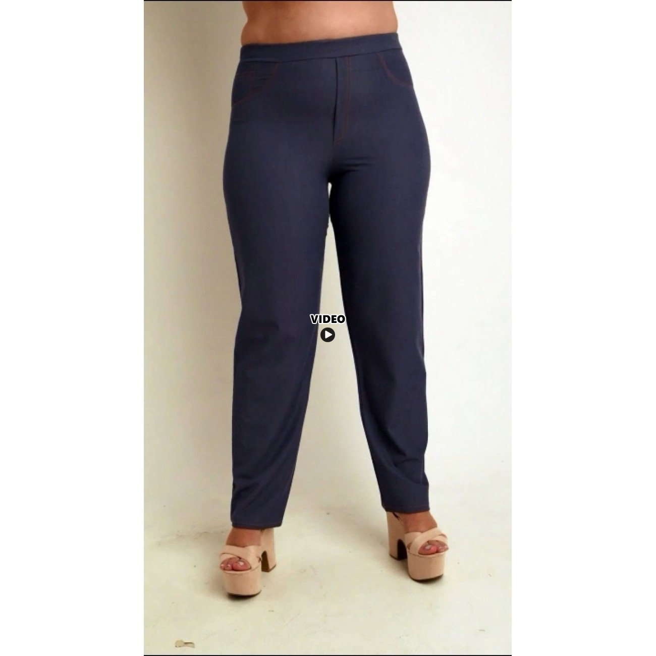 A20-659 Fitted trousers with 5 pockets - Light blue