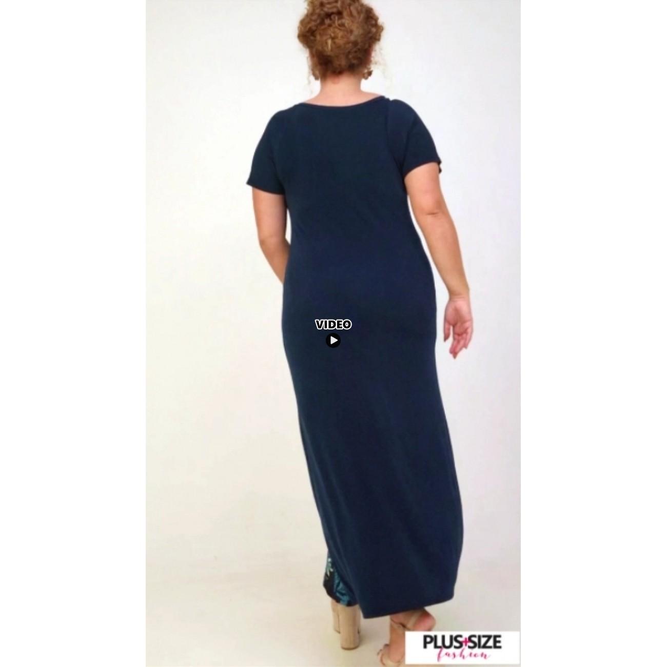 A21-4823FK Long Jersey Dress with pattern