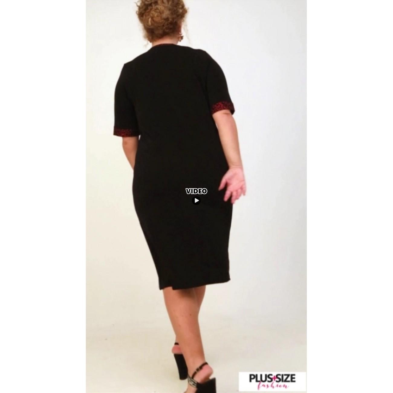 A21-529L Classic Dress with Lurex stripe - Bordeaux