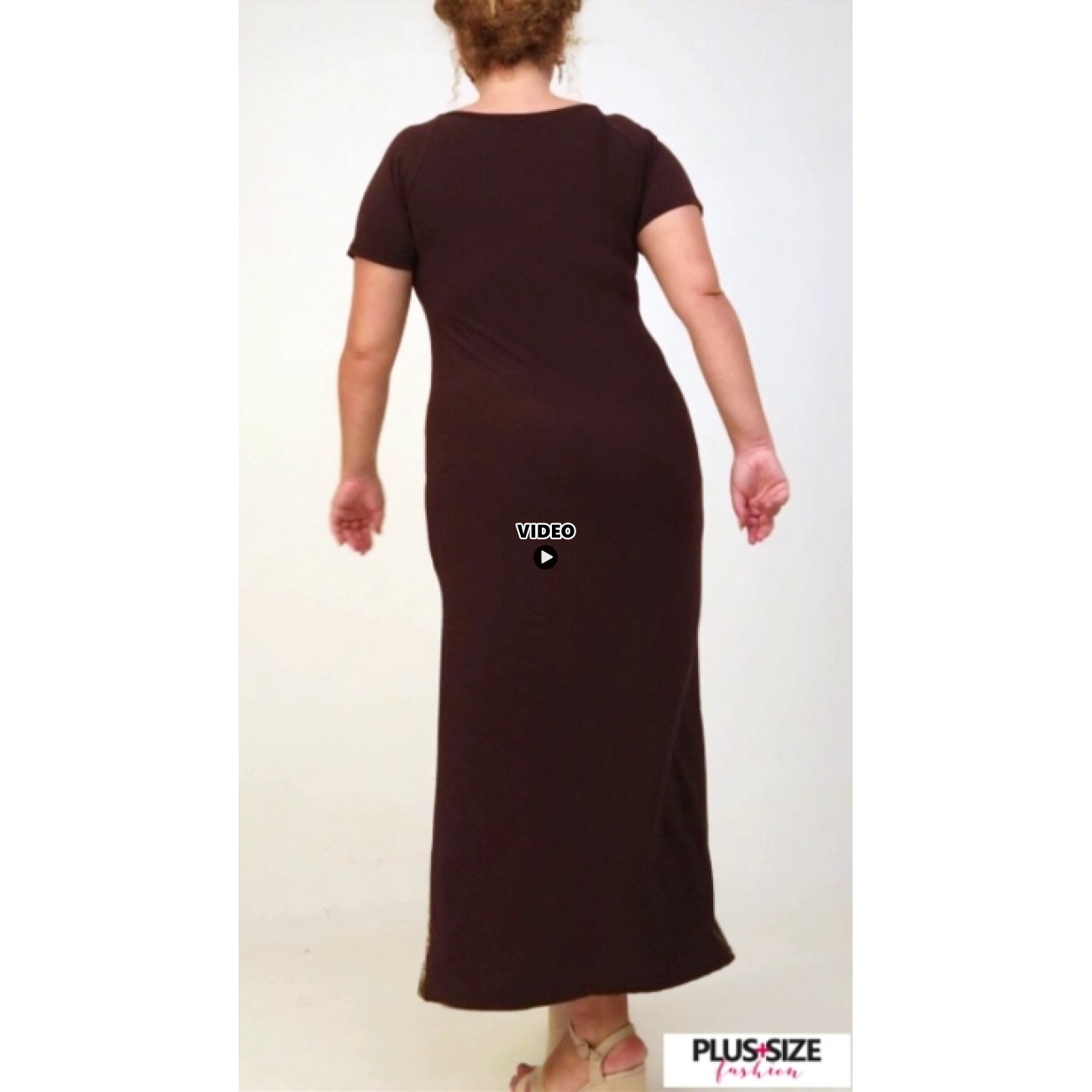 A21-7823FK Long Jersey Dress with pattern - Brown