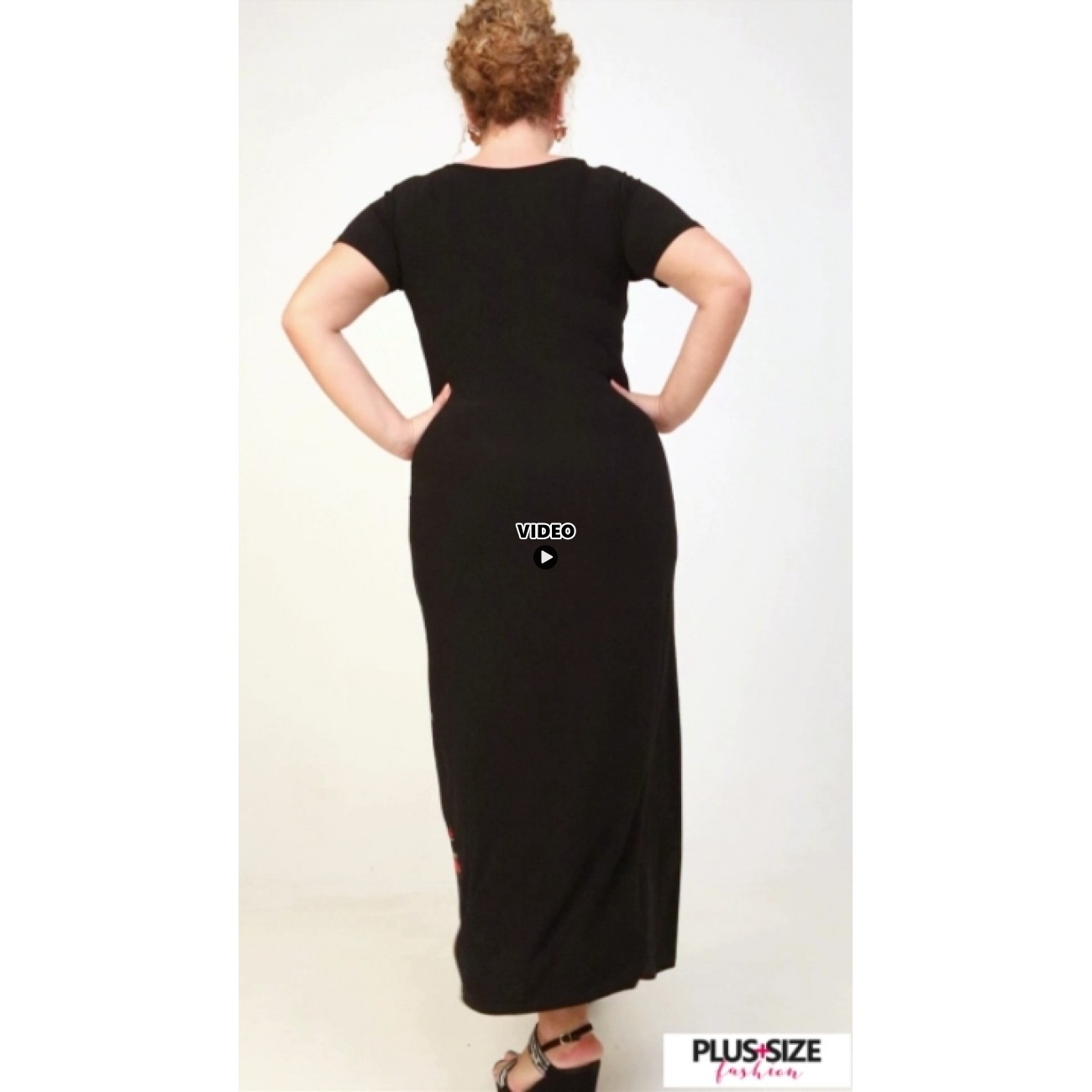 A21-7323FK Long Jersey Dress with pattern