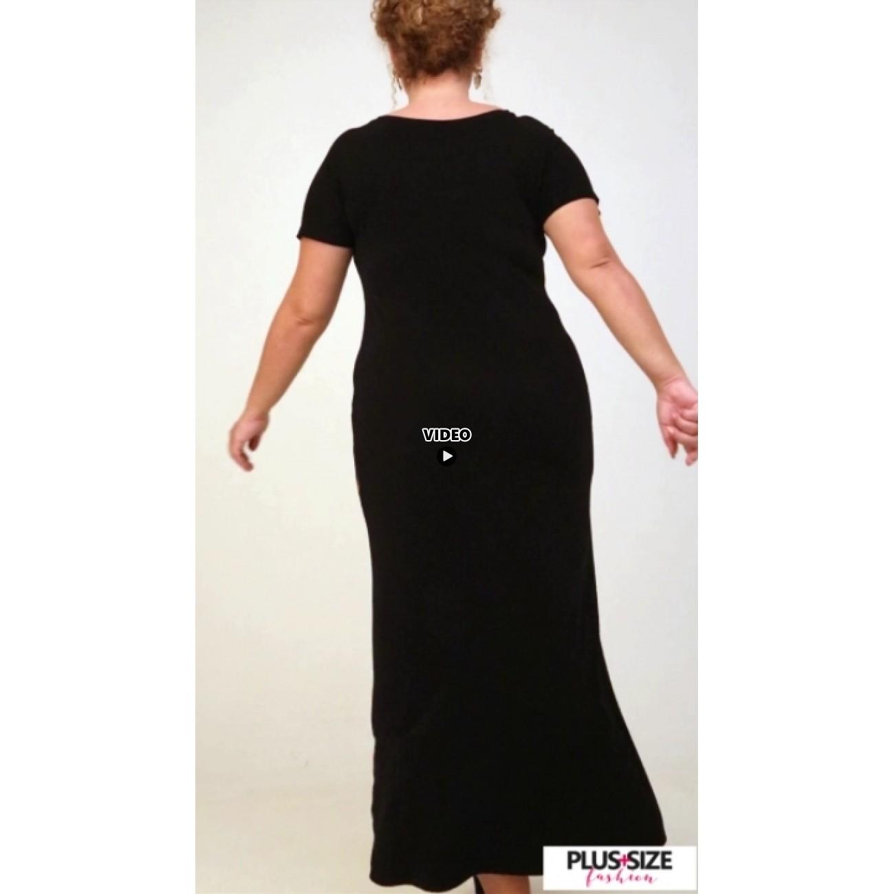 A21-7723FK Long Jersey Dress with pattern