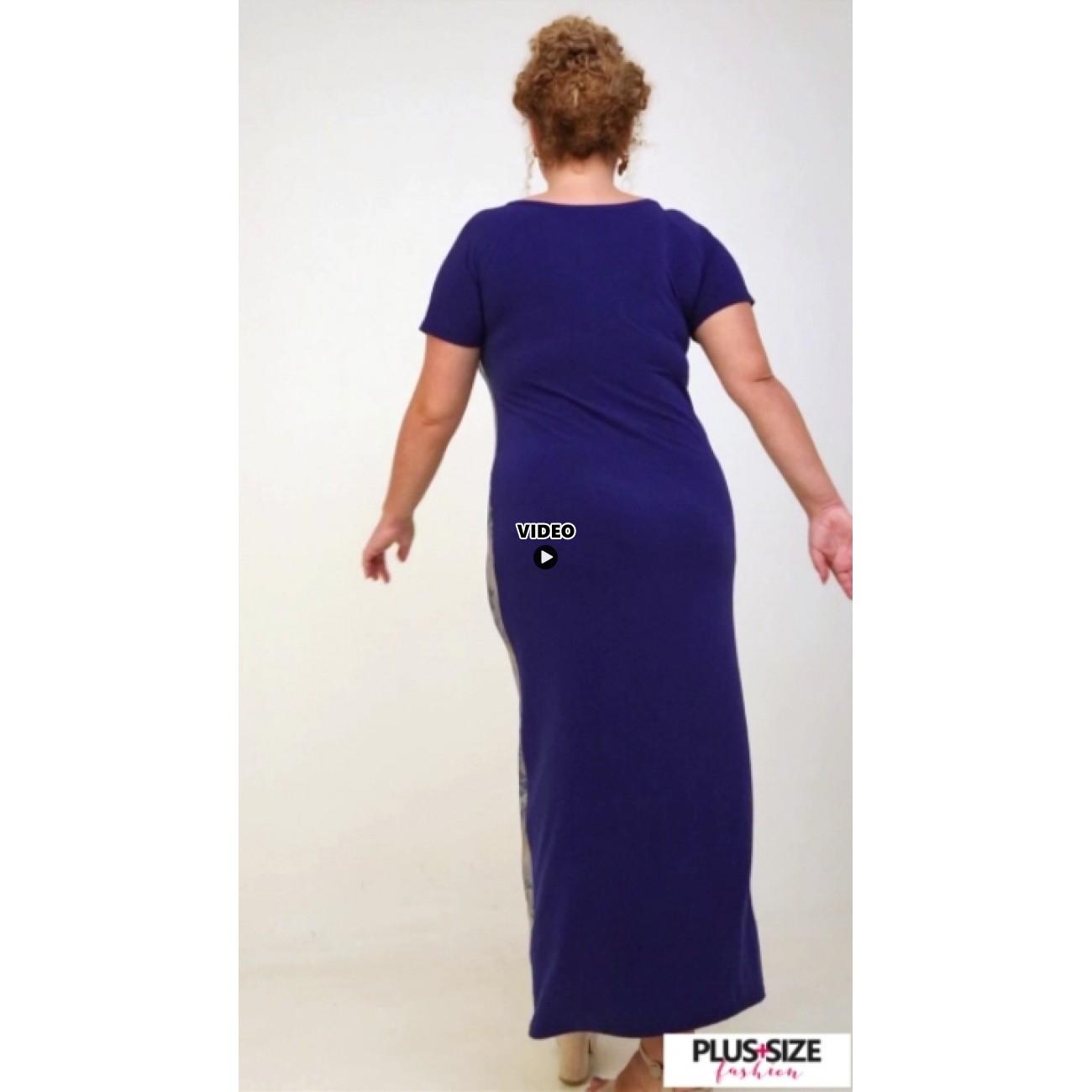A21-8723FK Long Jersey Dress with pattern