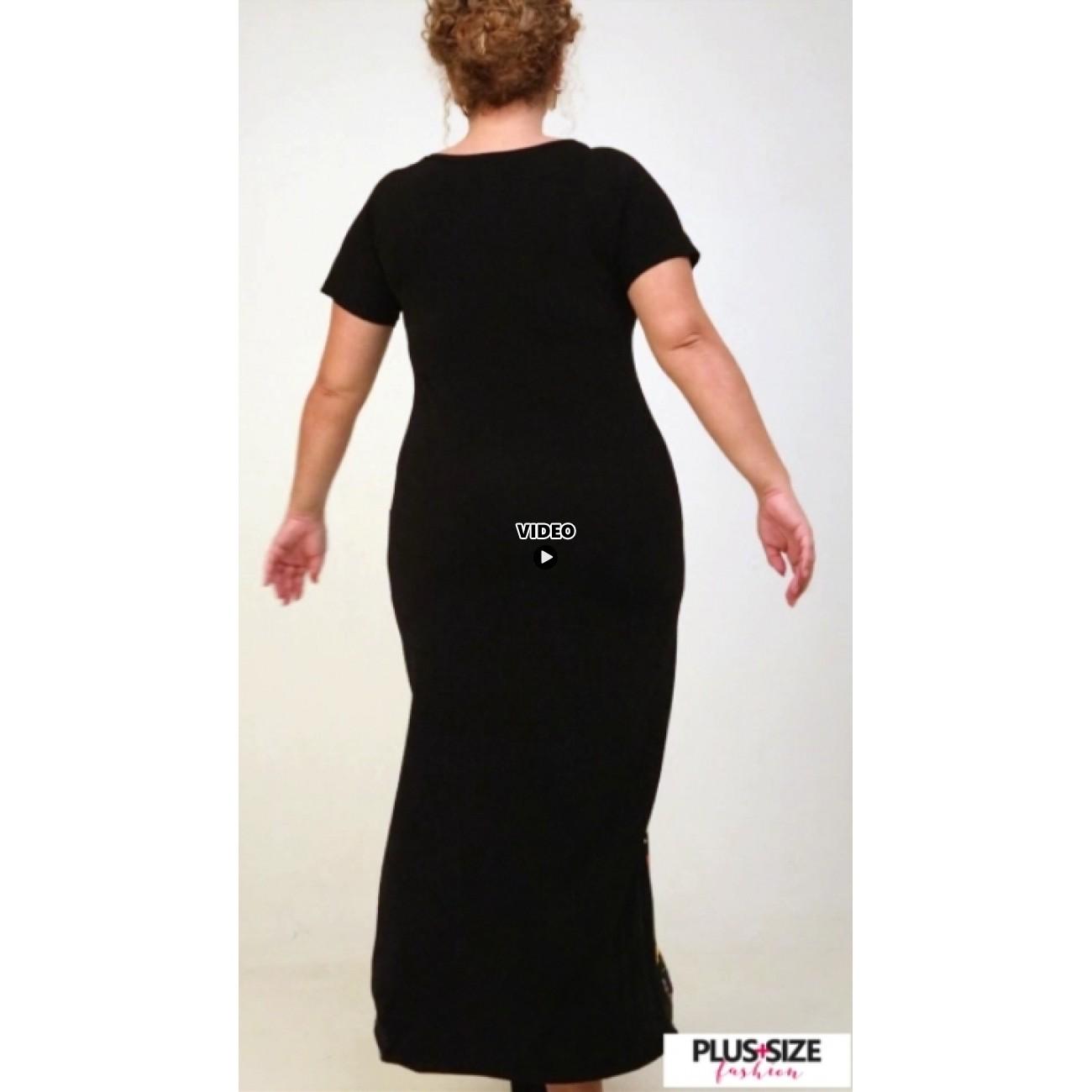 A21-8823FK Long Jersey Dress with pattern