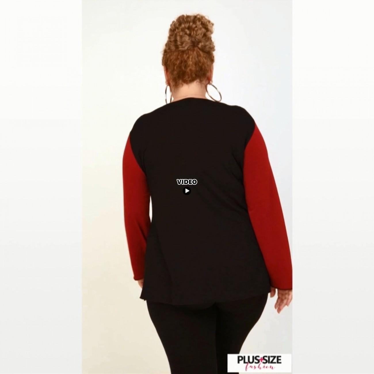 B20-190D Jersey Blouse with zipper - Brown