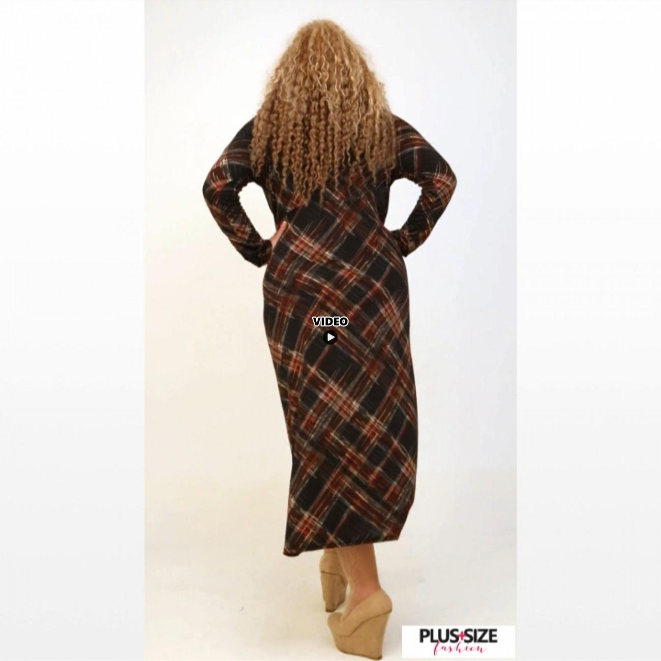B20-5923FK Long Jersey Dress with pattern
