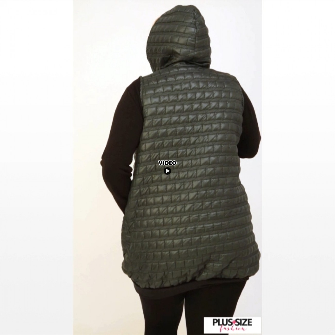 B20-6629A Sleeveless Jacket with hood - Olive Green
