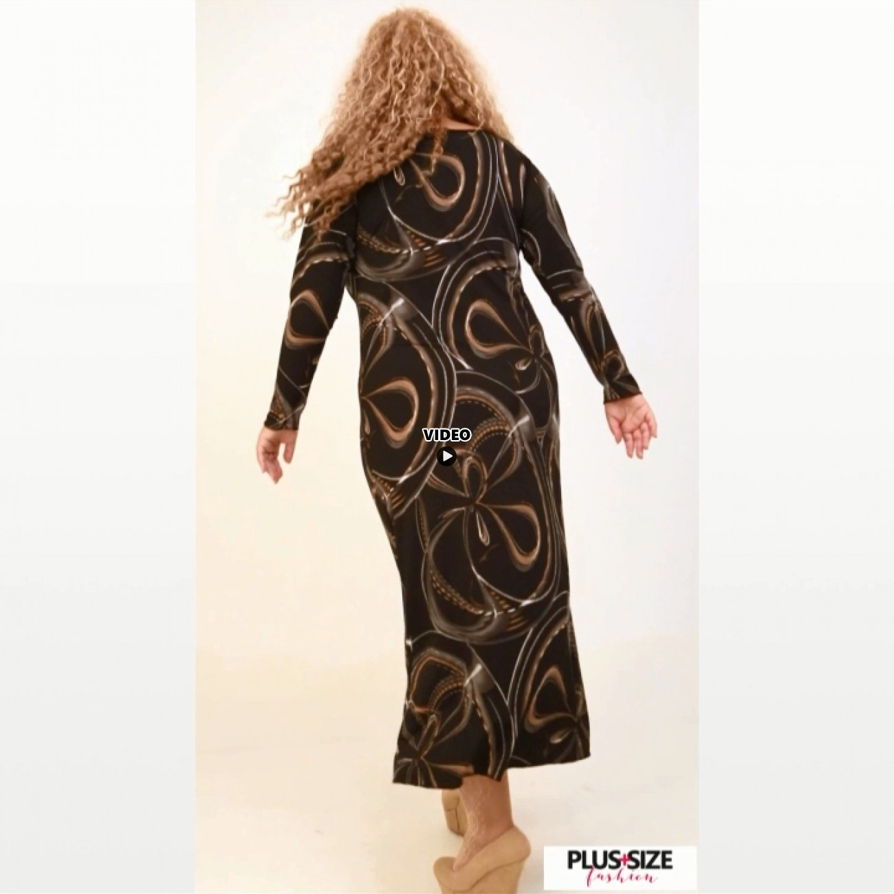 B20-7223FK Long Jersey Dress with pattern