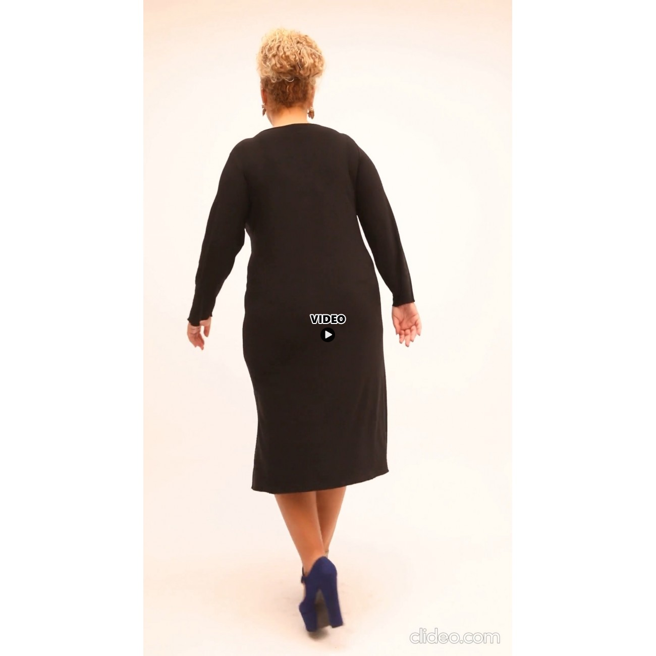B21-6092 Classic dress - Blue - Black
