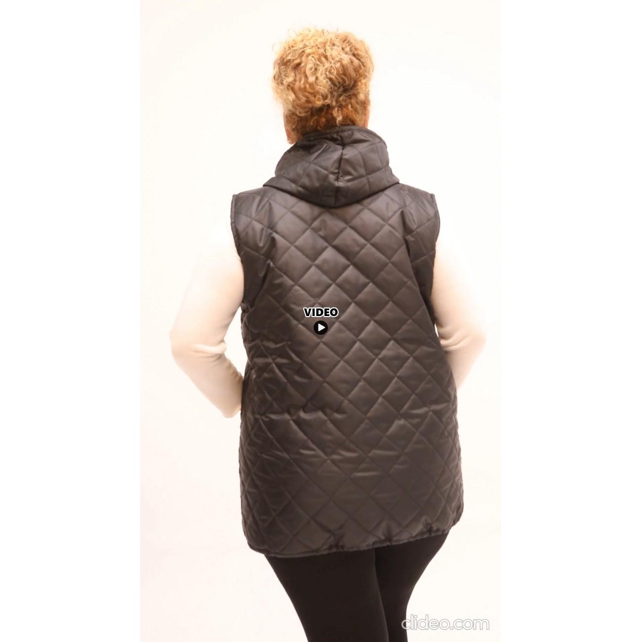 B21-6629A Sleeveless jacket with zipper and hood - Cypress Green