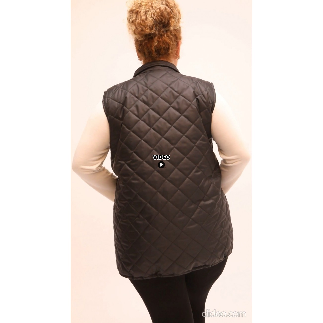 B21-6629AG Sleeveless jacket with zipper and collar - Bordeaux