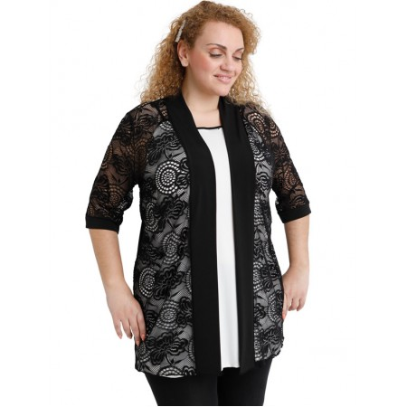 A20-139 Classic cardigan with lace