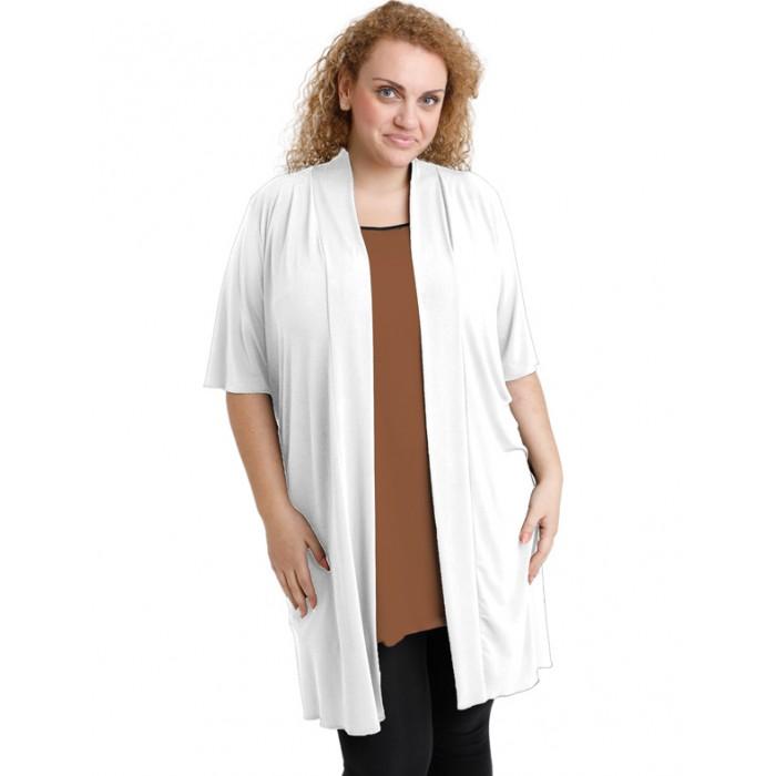 A20-142 Classic long cardigan - White