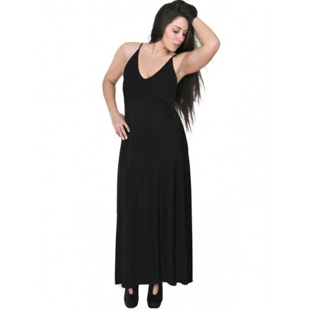 A20-223FB Long dress top - Black