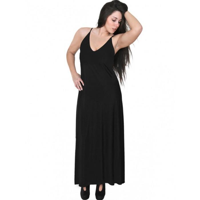A20-223FB Long dress top - Black