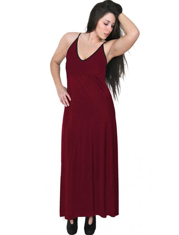 A20-223FB Long dress top - Bordeaux