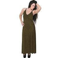 A20-223FB Long dress top - Khaki Dark
