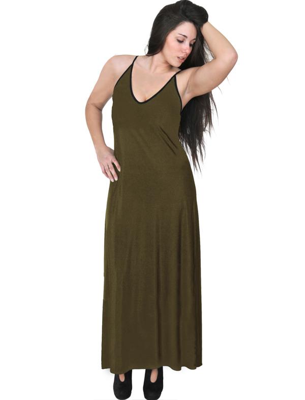 A20-223FB Long dress top - Khaki Dark