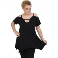 A20-222A Alpha blouse with hole on the neck - Black