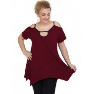 A20-222A Alpha blouse with hole on the neck - Bordeaux