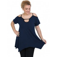 A20-222A Alpha blouse with hole on the neck - Navy Blue