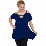 A20-222A Alpha blouse with hole on the neck - Royal Blue