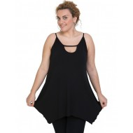 A20-222AB Alpha blouse with hole on the neck top - Black
