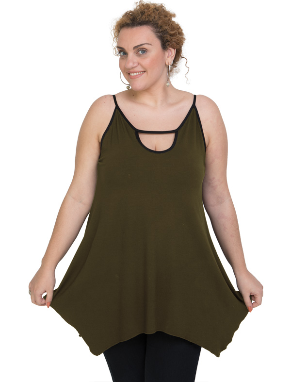 A20-222AB Alpha blouse with hole on the neck top - Khaki Dark