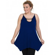 A20-222AB Alpha blouse with hole on the neck top - Royal Blue