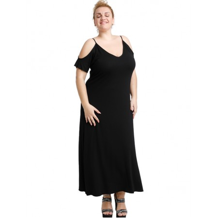 A20-223F Long dress - Black