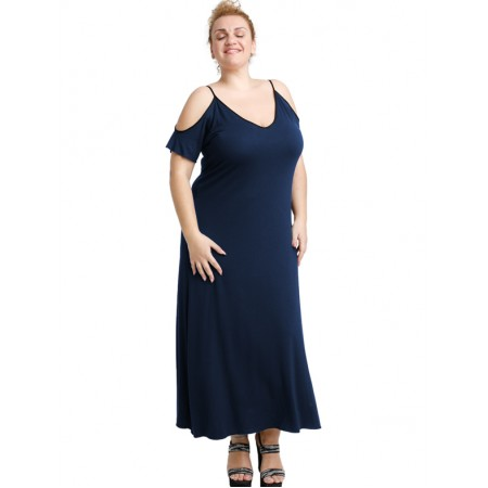A20-223F Long dress - Navy Blue
