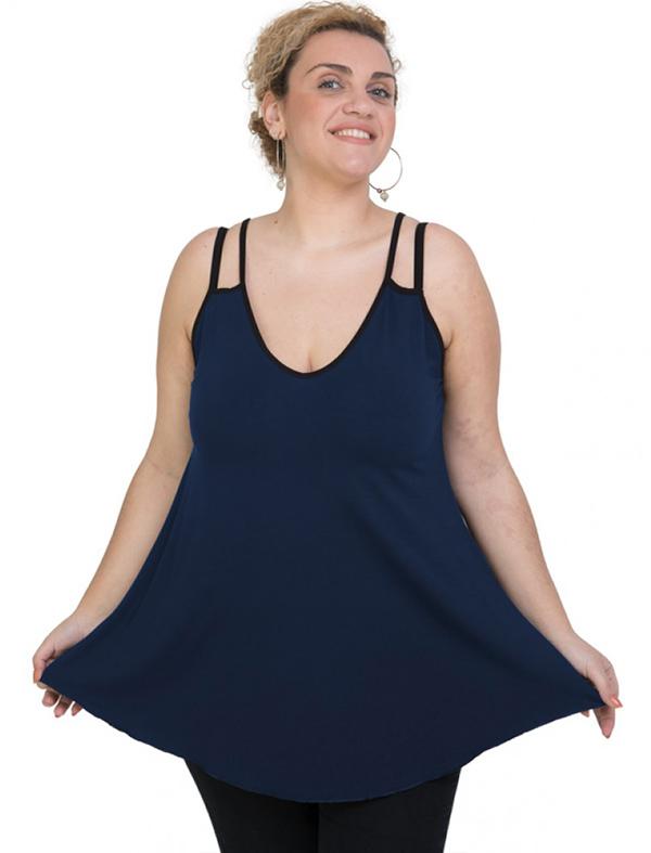 A20-227R Alpha blouse top - Navy Blue