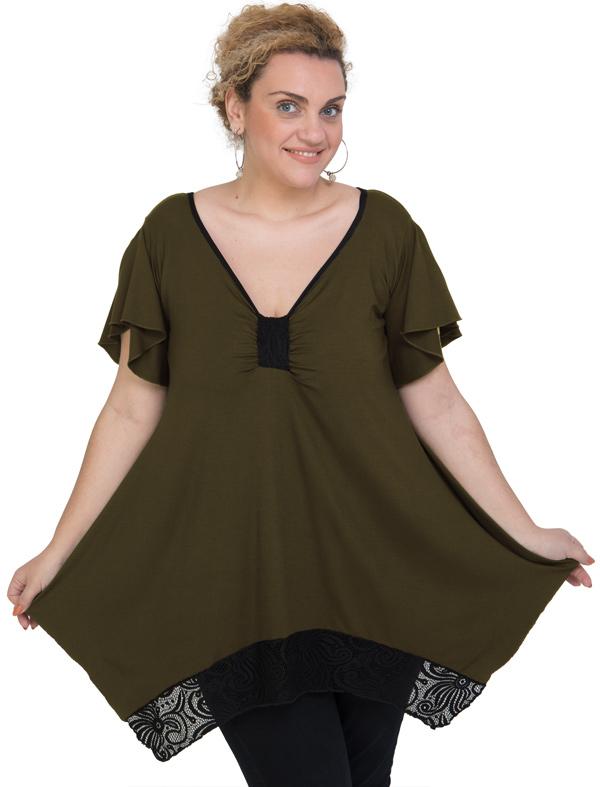 A20-255D Alpha blouse - Khaki Dark