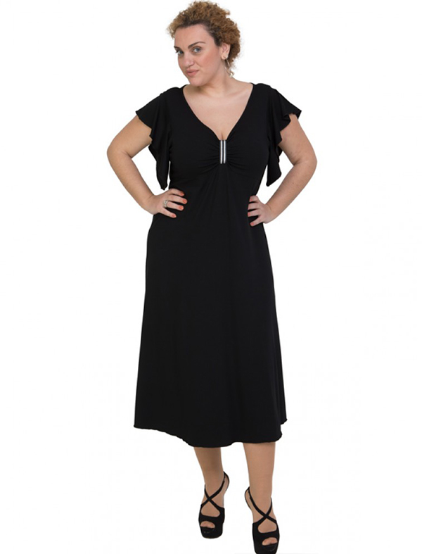 A20-255F Long dress - Black