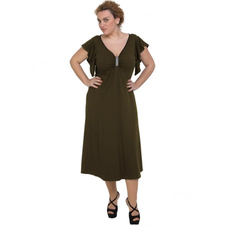 A20-255F Long dress - Khaki Dark