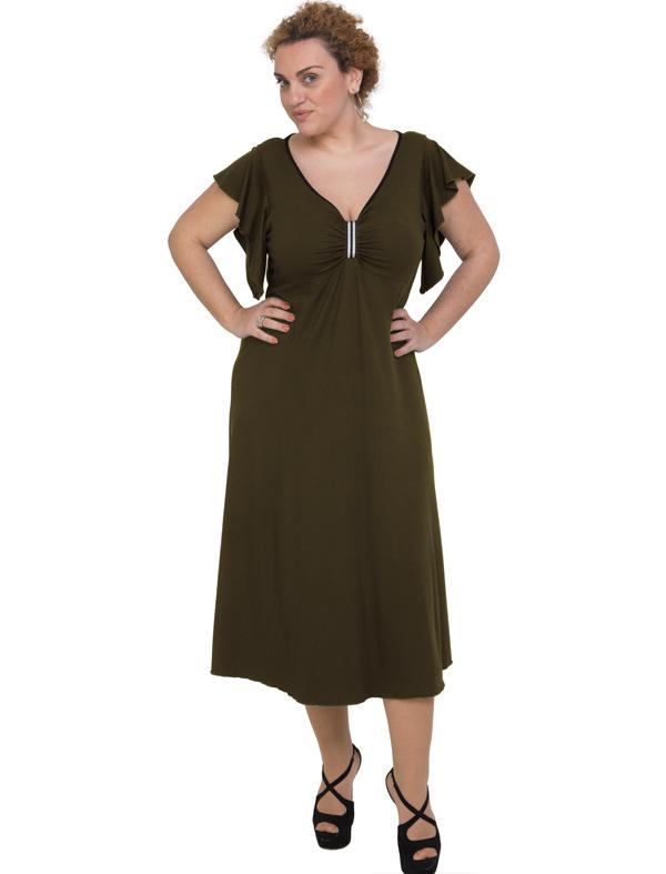 A20-255F Long dress - Khaki Dark