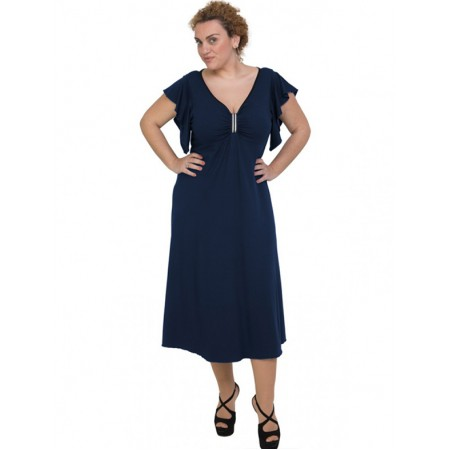A20-255F Long dress - Navy Blue