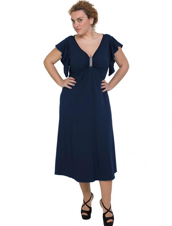 A20-255F Long dress - Navy Blue