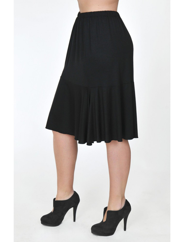 A20-268 Evaze fitted skirt with ruffles - Black