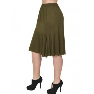 A20-268 Evaze fitted skirt with ruffles - Khaki Dark