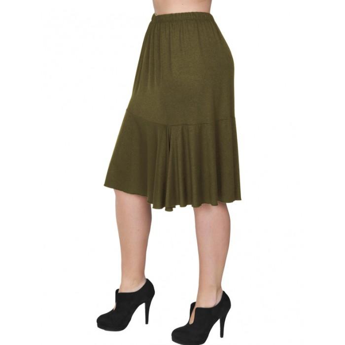A20-268 Evaze fitted skirt with ruffles - Khaki Dark