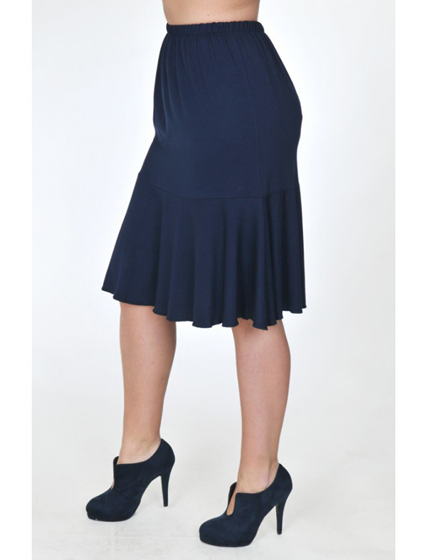 A20-268 Evaze fitted skirt with ruffles - Navy Blue