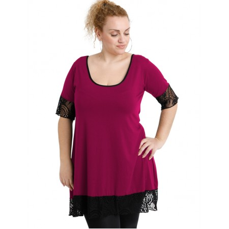 A20-276D Evaze blousedress with lace - Fuchsia